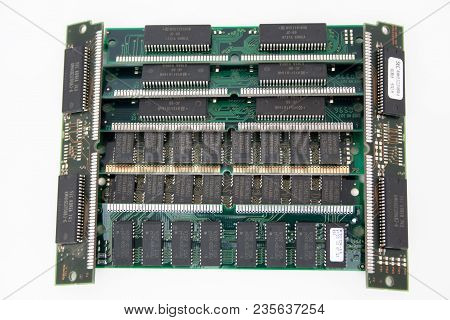 Russia, Izhevsk - February 27, 2017: Group Of Eight Computer Simm Memory Modules. Outdated Technolog