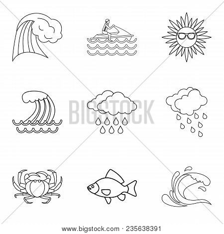 Tropical Explorer Icons Set. Outline Set Of 9 Tropical Explorer Vector Icons For Web Isolated On Whi