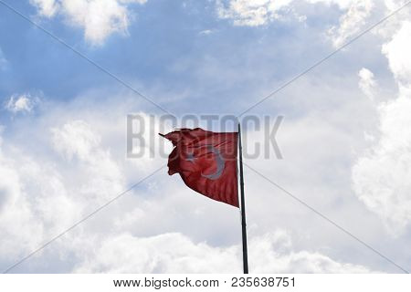 National flag of Turkey on a flagpole