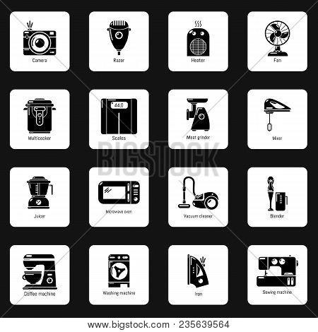 Domestic Appliances Icons Set. Simple Illustration Of 16 Domestic Appliances Vector Icons For Web