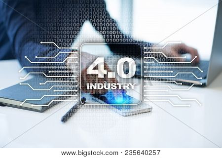 Industry 4.0 Iot Internet Of Things. Smart Manufacturing Concept. Industrial 4.0 Process Infrastruct
