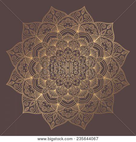 Mandala Vector Design Element. Golden Round Ornament Decoration. Line Flower Pattern. Stylized Flora