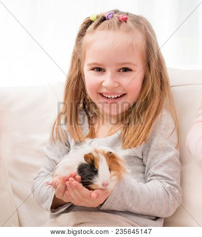 Cheerful little girl holding guinea pig on hands and smiling looking at camera