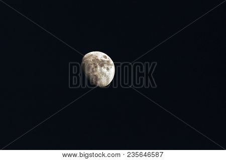 Moon Over Dark Black Sky At Night , Moon Background. Phase Of The Moon,  Highly Detailed Photo Of Th