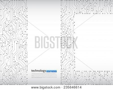 Circuit Board Vector Illustration. High-tech Technology Background Texture. Abstract Communication C