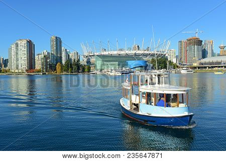 Vancouver - Nov 10, 2014: Vancouver Spirit Of False Creek 3 Ferry In False Creek And Bc Place Stadiu