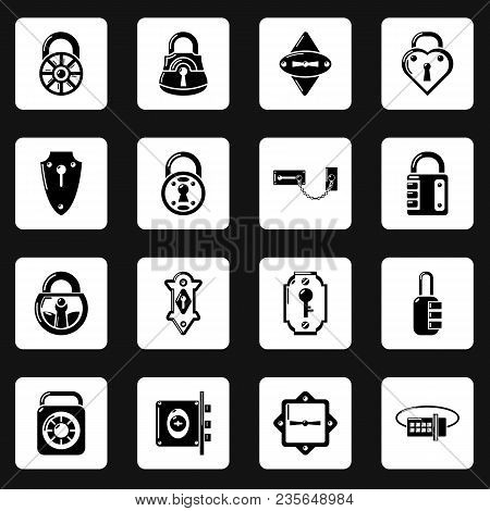 Lock Door Types Icons Set. Simple Illustration Of 16 Lock Door Types Vector Icons For Web