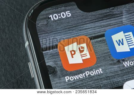 Sankt-petersburg, Russia, April 11, 2018: Microsoft Office Powerpoint Application Icon On Apple Ipho