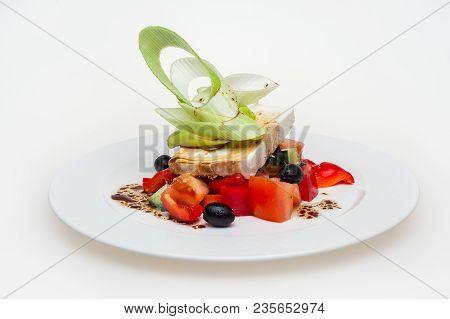 Greek Salad. Feta, Olive And Vegetables, Traditional Greek Cuisine