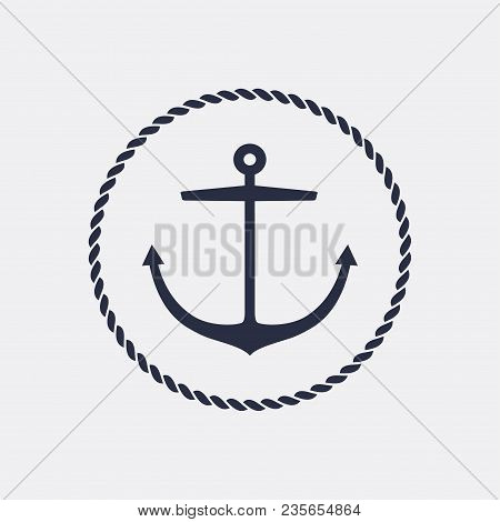 Anchor Emblem With Circular Rope Frame . Yacht Style Design. Nautical Sign, Symbol. Universal Icon.