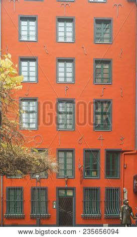 The Facade Of The Red Building In Cologne Germany. February 29, 2018