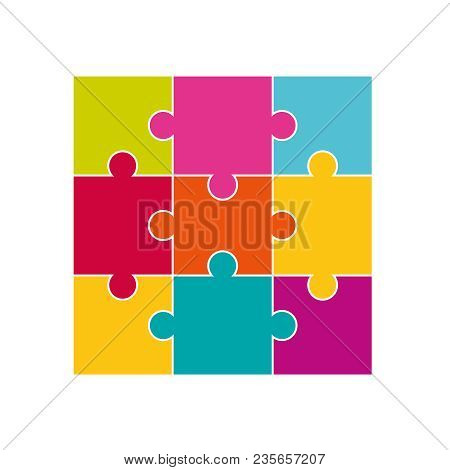 Vector Colorful Jigsaw Puzzle Pieces. Jigsaw Puzzle Parts