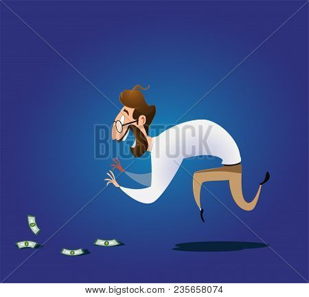 Cartoon Businessman Bends Over To Pick Up Money Lying On The Ground. Vector Illustration On Finding