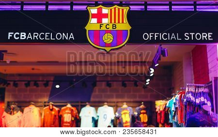Barcelona. Spain - February 13, 2018: Football Club Barcelona Official Store. Barcelona. Spain