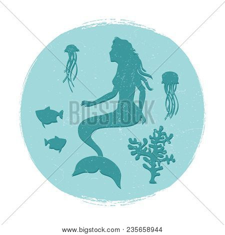 Vintage Underwater Life Label. Mermaid And Fishes, Jellyfish Silhouettes. Vector Illustration