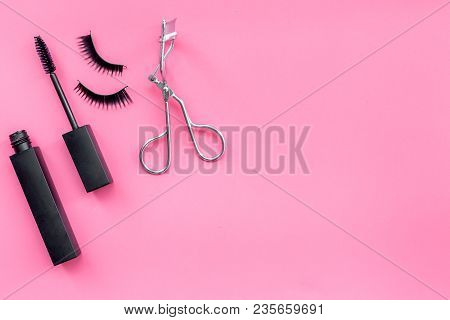 Makeup Set For Expressive Eyelashes. Mascara, False Eyelashes, Eyelash Curler On Pink Background Top