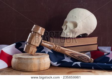 A court hammer and a skull on the background of the flag of the United States, the death penalty, the Federal court of the United States poster