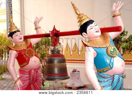 2 Males Carrying a Bell in Penang Statues poster