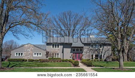 Saltbox Style Ranch Home in Gray and Purple