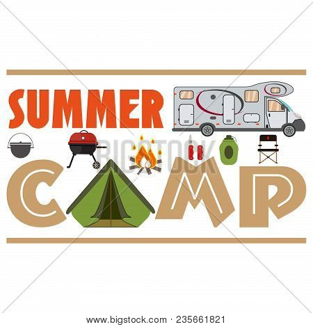 Hiking Set. Camping Equipment Vector Summer Collection. Binoculars, Bowl, Barbecue, Boat, Lantern, S