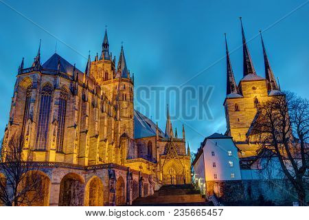The Famous Cathedral And Severi Church In Erfurt Illuminated After Sunset