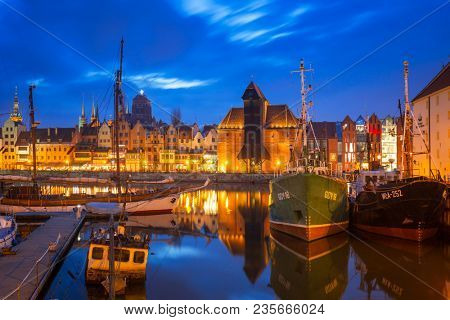 Gdansk, Poland - April 5, 2018:  Marina at Motlawa river in old town of Gdansk, Poland. Gdansk is the historical capital of Polish Pomerania with medieval old town architecture.