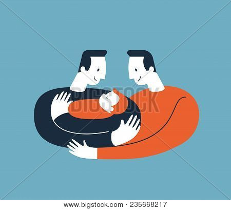 Two men hugging and cuddling baby boy or girl and nursing him. Gay parents embracing newborn adopted baby and expressing love and care. Lesbian and Gay Parents concept. Modern illustration. Vector poster