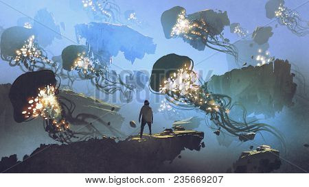 Dreamlike Scenery Of A Man Looking At Giant Jellyfishes Floating In The Sky, Digital Art Style, Illu