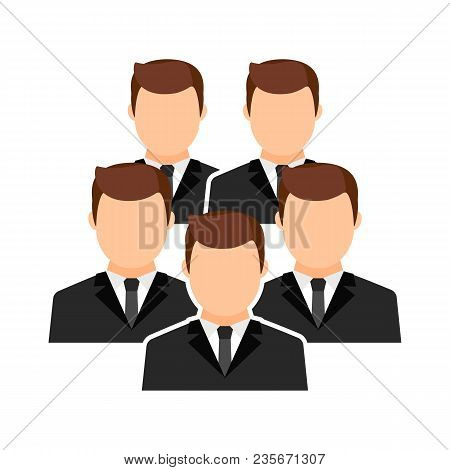 Avatars, Portraits Of Men Without Faces In Suit And Tie. Collective, Team. Vector Flat Illustration.