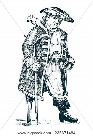 Pirate Or Captain Man On Ship Traveling Through The Oceans And Seas. Marine Adventure Of A Sailor. H
