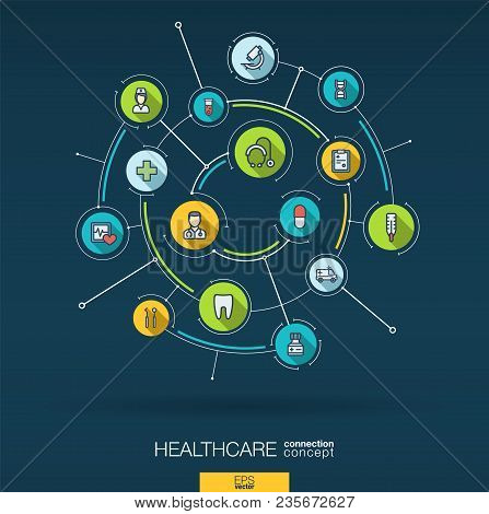 Abstract Healthcare, Medicine Background. Digital Connect System With Integrated Circles, Flat Icons