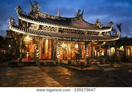 Overcast Evening At Dalongdong Baoan Temple Also Known As The Taipei Baoan Temple Is A Taiwanese Fol