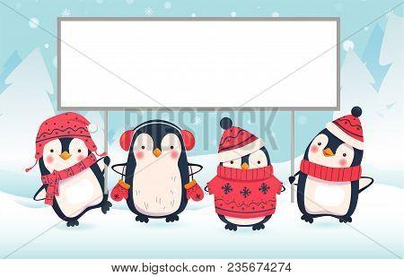 Penguin Cartoon Illustration. Penguins Holding Large Banner