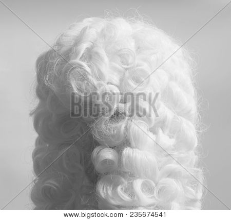 Judge Wig Accessories Juristic On A Gray Background.