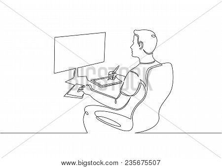 Continuous Single Drawn One Line Designer Looks Working Monitor