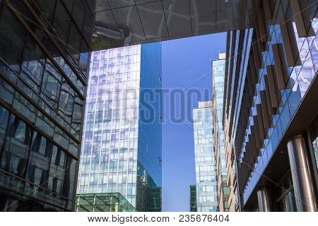 Gdansk, Poland - April 4, 2018: Architecture of Olivia Star skyscraper at Olivia Business Centre in Gdansk, Poland. Olivia Star at 180meters is the highest building in Tri-City and Northern Poland.