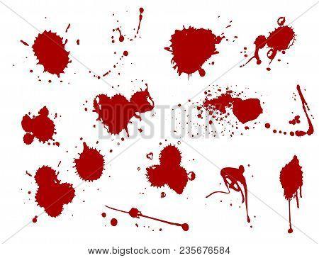 Blood Splat Splash Spot Ink Stain Blot Patch Liquid Vector Illustration. Bloody Backdrop Paint Shape