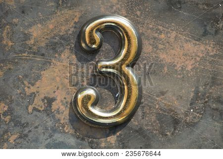 Number Three Lettering, 3 Greeting Card, 3 Number, Volume Figure 3 Year, 3 Year Anniversary Gold Log