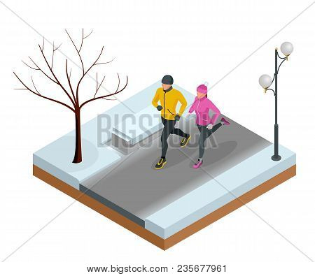 Isometric Young Woman And Man Runners Running On A City Park. Sportive People Training In An Urban A