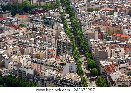 Aerial view of typical parisian building and boulevard with green trees as seen from Montparnasse Tower in Paris, France .
