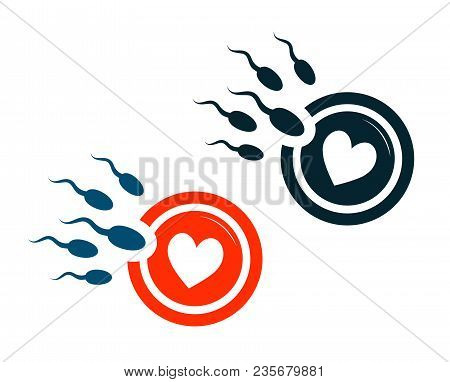 Oocyte Fertilization, Pregnancy, Conception Logo. Egg Cell And Spermatozoon, Sperm Symbol Isolated O