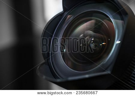 14mm Wide Angle Lens With A Lens Hood Close-up