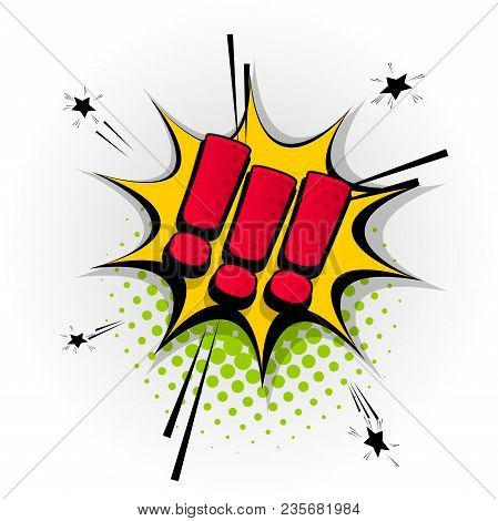 Exclamation Point Hand Drawn Pictures Effects. Template Comics Speech Bubble Halftone Dot Background