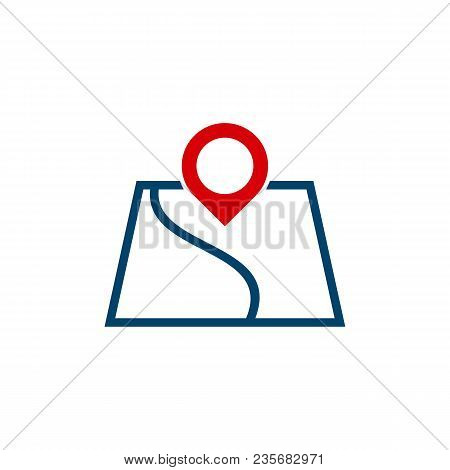 Map Location Line Icon, Outline Vector Sign, Linear Style Pictogram Isolated On White. Geo Location