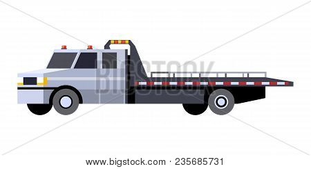 Minimalistic Icon Car Hauler Truck Front Side View. Car Carrier Vehicle. Vector Isolated Illustratio