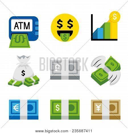 Money Dollar Bank Coin Finance Earning Business Flat Vector Cartoon Illustration