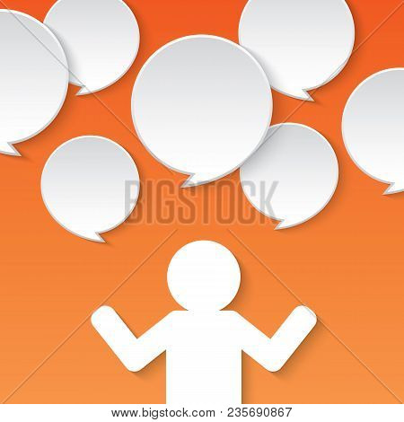 Design Template. People With Floating Speech Bubble . Illustration On Orange Background.