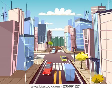 City Street Vector Illustration Of Urban Cars Transport On Traffic Lane And Pedestrian Crosswalk Wit