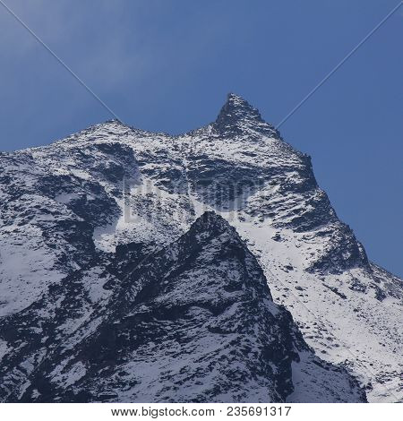 Twin Peaks Covered By Snow. Mountains Of The Langtang Himal Range, Nepal.