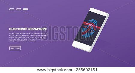 Electronic Fingerprint Scan.concept Of Fingerprint Technology Identification On Phone Vector Illustr